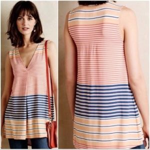 Anthropologie Deletta Tunic Tank Top Striped